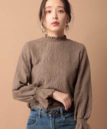 mysty woman(ミスティウーマン)のシャーリングカラープルオーバー 855817(Tシャツ/カットソー)