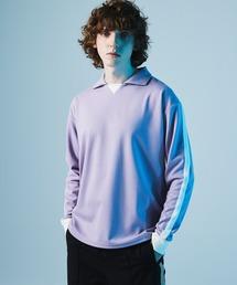 ポンチローマ オーバーサイズ L/S ジャージーポロ ラインカットソー(EMMA CLOTHES)パープル