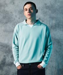 ポンチローマ オーバーサイズ L/S ジャージーポロ ラインカットソー(EMMA CLOTHES)グリーン系その他