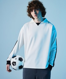 ポンチローマ オーバーサイズ L/S ジャージーポロ ラインカットソー(EMMA CLOTHES)ホワイト