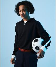 ポンチローマ オーバーサイズ L/S ジャージーポロ ラインカットソー(EMMA CLOTHES)ブラック