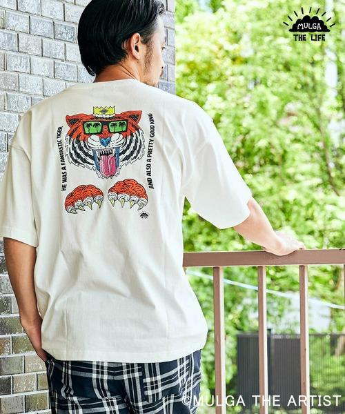 MULGA/モルガ 別注 ビッグシルエット ロゴ刺繍/背面プリント 半袖Tee