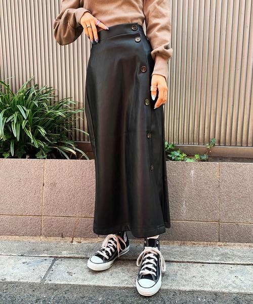 SPINNS(スピンズ)の「エコレザー / PU /合皮素材 タイトロングスカート(スカート)」|ブラック
