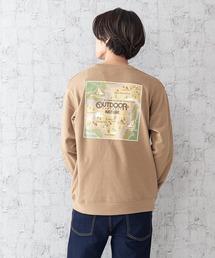 CAMPモチーフトレーナー ワンポイント刺繍 バックプリント ルーズシルエット ユニセックス ブランド発祥の地をモチーフにしたグラフィックデザインベージュ