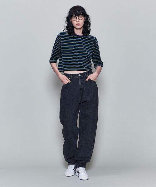<6(ROKU)>VELOUR BORDER CROPPED T-SHIRT/Tシャツ