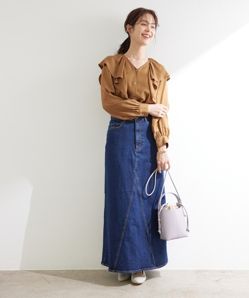 [ROPE'] 【21AW】【一部WEB限定】【セットアップ対応】デニムセミフレアマキシスカート