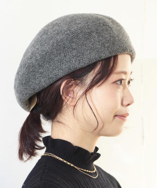 SESTO(セスト)の「ab18aw/MIXカラー ウールベレー(ハンチング/ベレー帽)」|ブラック×グレー
