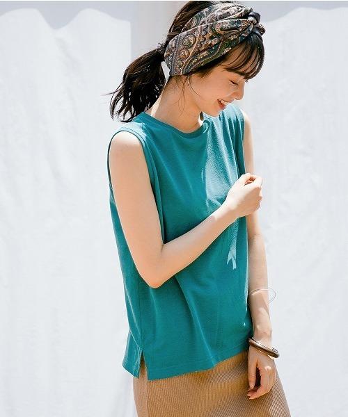 apart by lowrys(アパートバイローリーズ)の「PドライMIXノースリーブTシャツ 833638(Tシャツ/カットソー)」|ターコイズブルー