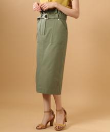 BABYLONE(バビロン)のベルト付きハイウエストタイトスカート(スカート)