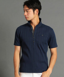 NICOLE CLUB FOR MEN(ニコルクラブフォーメン)のランダムテレコシルケットポロシャツ(ポロシャツ)