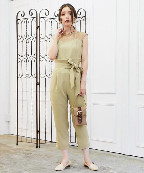 mysty woman(ミスティウーマン)の「シアービスチェパンツドレス 851633(ドレス)」 カーキ