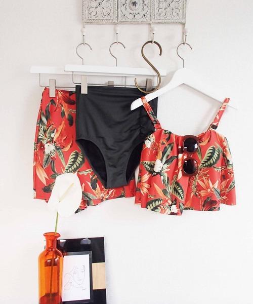 Coral veil(コーラルベール)の「【Coral veil(コーラルベール)】 Lily Garden ワンピ見えビキニ(水着)」|オレンジ
