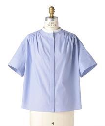 Drawer ドビースタンドカラーショートスリーブシャツ