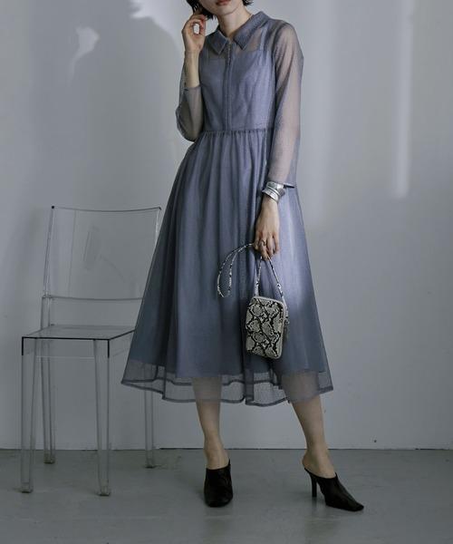 etoll.(エトル)の「幾何学チュール襟付きワンピースドレス(ドレス)」 グレイッシュブルー