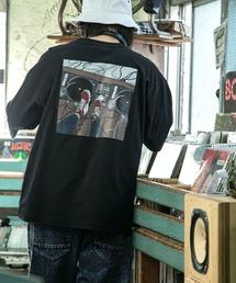 コットン天竺 オーバーサイズ イラストロゴプリント/バックプリント 半袖カットソー Tシャツ 2021SUMMERブラック系その他