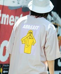 コットン天竺 オーバーサイズ イラストロゴプリント/バックプリント 半袖カットソー Tシャツ 2021SUMMERベージュ系その他