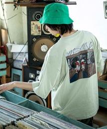 コットン天竺 オーバーサイズ イラストロゴプリント/バックプリント 半袖カットソー Tシャツ 2021SUMMERグリーン系その他