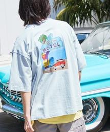 コットン天竺 オーバーサイズ イラストロゴプリント/バックプリント 半袖カットソー Tシャツ 2021SUMMERブルー系その他
