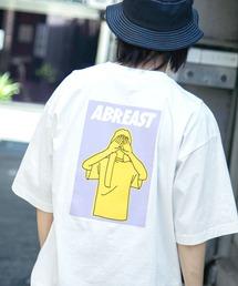 コットン天竺 オーバーサイズ イラストロゴプリント/バックプリント 半袖カットソー Tシャツ 2021SUMMERホワイト