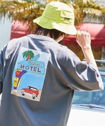 コットン天竺 オーバーサイズ イラストロゴプリント/バックプリント 半袖カットソー Tシャツ 2021SUMMERチャコールグレー