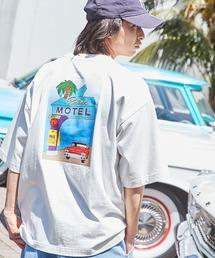 コットン天竺 オーバーサイズ イラストロゴプリント/バックプリント 半袖カットソー Tシャツ 2021SUMMERホワイト系その他3