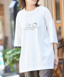 コットン天竺 オーバーサイズ イラストロゴプリント/バックプリント 半袖カットソー Tシャツ 2021SUMMERホワイト系その他4