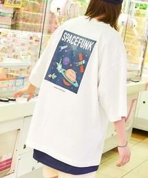 コットン天竺 オーバーサイズ イラストロゴプリント/バックプリント 半袖カットソー Tシャツ 2021SUMMERホワイト系その他5