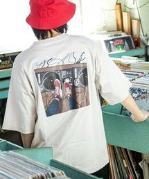 コットン天竺 オーバーサイズ イラストロゴプリント/バックプリント 半袖カットソー Tシャツ 2021SUMMERベージュ系その他2