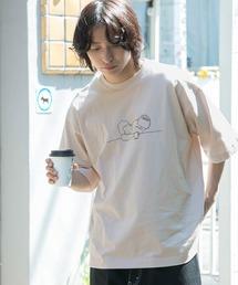 コットン天竺 オーバーサイズ イラストロゴプリント/バックプリント 半袖カットソー Tシャツ 2021SUMMERベージュ系その他5
