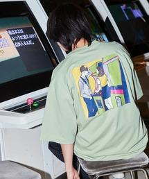 コットン天竺 オーバーサイズ イラストロゴプリント/バックプリント 半袖カットソー Tシャツ 2021SUMMERグリーン系その他2