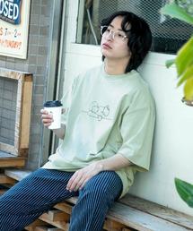 コットン天竺 オーバーサイズ イラストロゴプリント/バックプリント 半袖カットソー Tシャツ 2021SUMMERグリーン系その他3