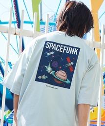 コットン天竺 オーバーサイズ イラストロゴプリント/バックプリント 半袖カットソー Tシャツ 2021SUMMERブルー系その他2