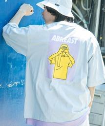 コットン天竺 オーバーサイズ イラストロゴプリント/バックプリント 半袖カットソー Tシャツ 2021SUMMERライトブルー