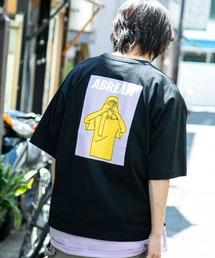 コットン天竺 オーバーサイズ イラストロゴプリント/バックプリント 半袖カットソー Tシャツ 2021SUMMERブラック