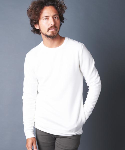 Magine(マージン)の「LY/PE DOUBLE KNIT C/N L/S ダブルニットクルーネックロングスリーブ(Tシャツ/カットソー)」|ホワイト