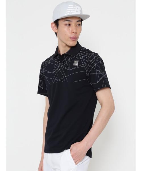 New Balance Golf(ニューバランスゴルフ)の「【new balance golf】レーザープリント 半袖ポロシャツ (MENS SPORT)(ポロシャツ)」|ブラック