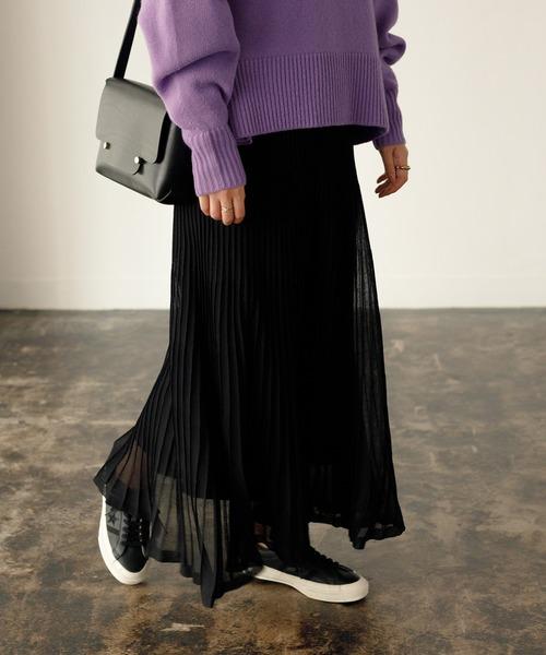 ADAM ET ROPE'(アダムエロペ)の「シアーニットプリーツスカート(スカート)」|ブラック