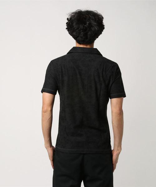 梨地単色ボタニカル総柄半袖ポロシャツ