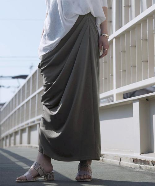 タックドレープロングカットスカート