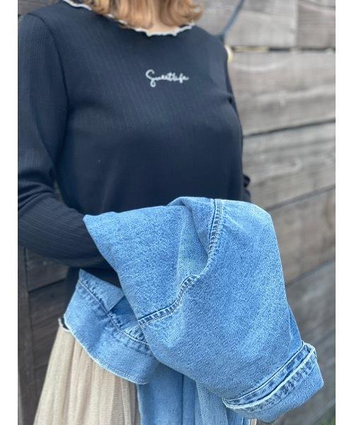 one way(ワンウェイ)の「配色メロー刺繍ロゴ(Tシャツ/カットソー)」|ブラック
