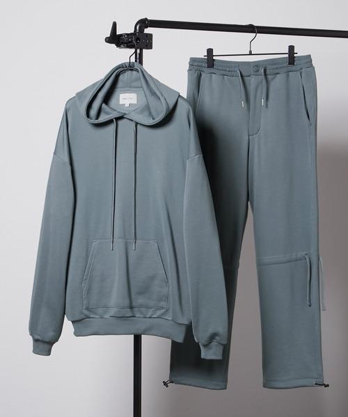 【セットアップ】ビッグシルエット クオリティーブライト裏毛 プルオーバーパーカー&ドローコードスウェットパンツ EMMA CLOTHES