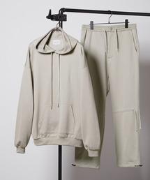 【セットアップ】ビッグシルエット クオリティーブライト裏毛 プルオーバーパーカー&ドローコードスウェットパンツ EMMA CLOTHES 2020AWグレイッシュベージュ