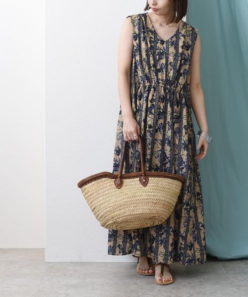 アフリカン更紗プリントギャザードレス