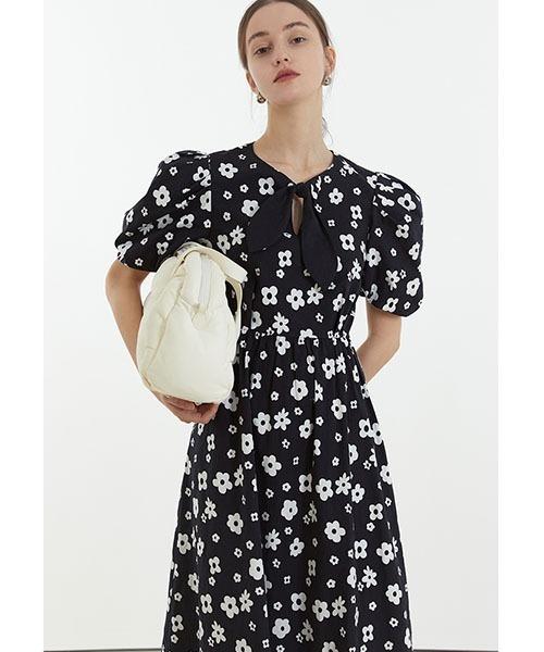 【Fano Studios】【2021SS】Flower tie puff sleeve dress FC21L038
