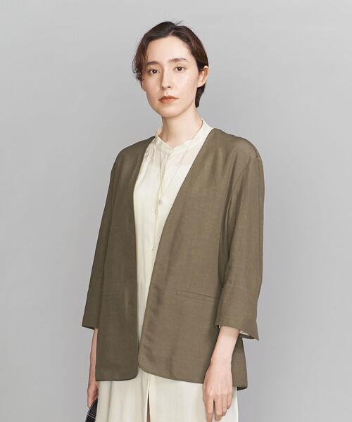BY 麻ブレンド パイピングカラーレスジャケット