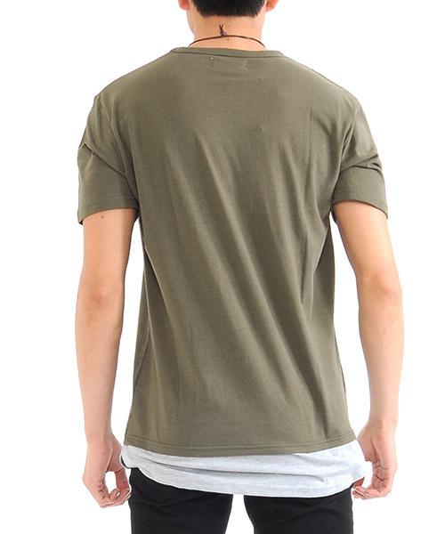 オーバーサイズ フェイクレイヤードダメージロング丈Tシャツ