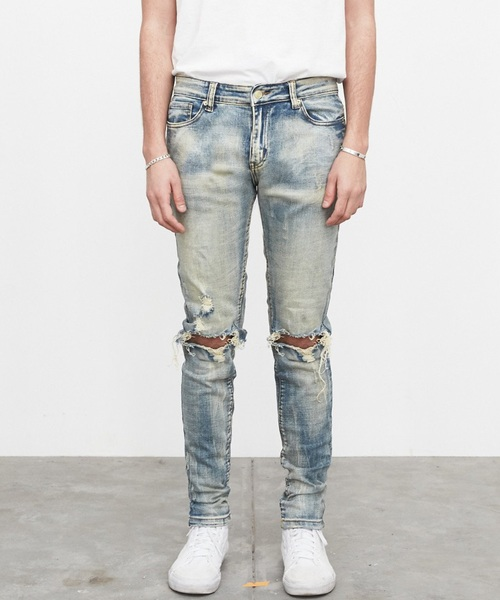 PROFOUND AESTHETIC DESTROYED EARTH WASH DENIM JEANS