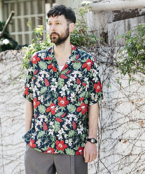 RAYON FLOWER ALOHA / OPEN COLLAR SHIRT