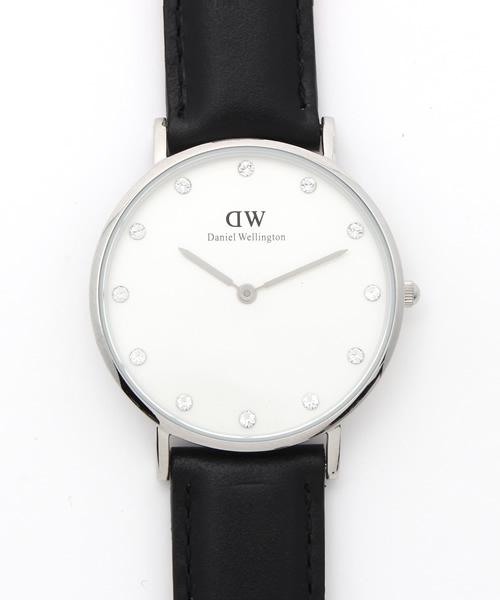 Ray BEAMS(レイビームス)の「DANIEL WELLINGTON / Classy レザーベルト / シルバー 34mm(腕時計)」|ブラック