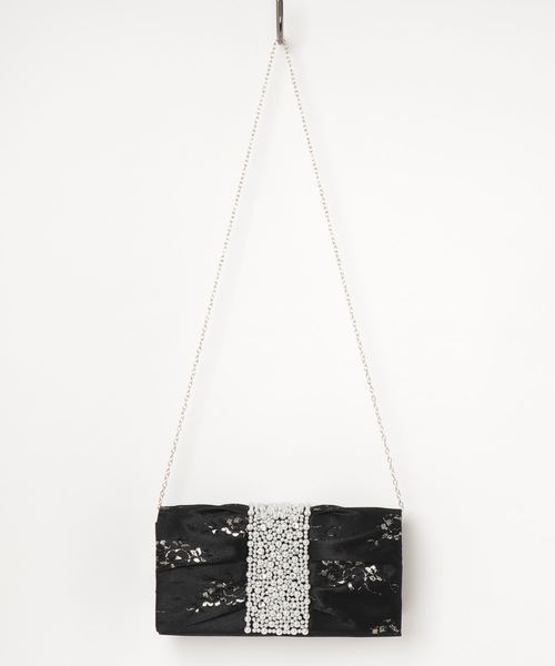STYLEBLOCK(スタイルブロック)の「金糸フラワーレース×センターパールパーティーバッグクラッチバッグ(クラッチバッグ)」|ブラック